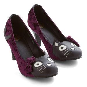 TUK Purple Velvet Kitty Cat Face Heels A8815L New